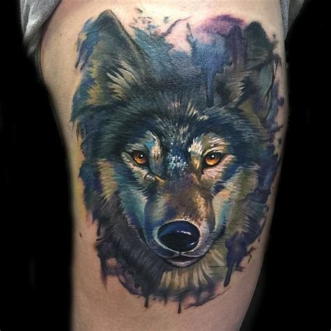 realistic wolf tattoo painterly watercolor realistic wolf by evan olin