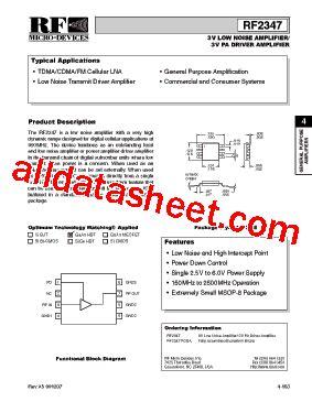 datasheet of rf diode rf2347 datasheet pdf rf micro devices