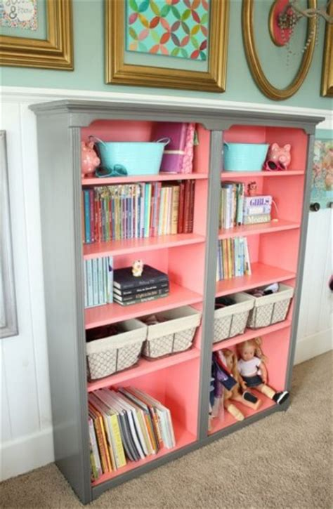 coral grey book shelves the pleated poppy