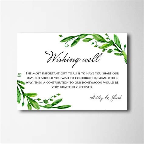 wedding wish card template wishing well cards green wedding wishing well printable