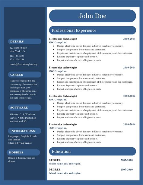 resume templates word free download resume free templates word free