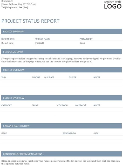 project status report template download free premium