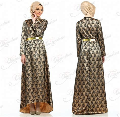 muslim long dress 2014 2014 long sleeve black full lace patterns front short long
