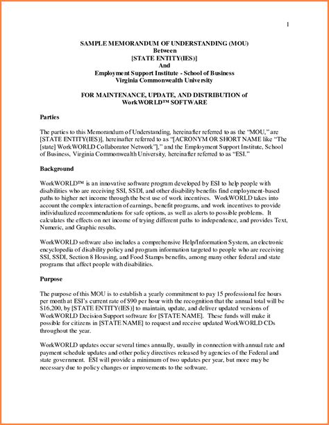 Memorandum Of Agreement Letter Format Sle Of Memorandum 55084785 Png Sales Report Template