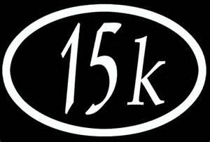 15k running sticker white