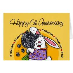 wedding happy 6th anniversary greeting card zazzle