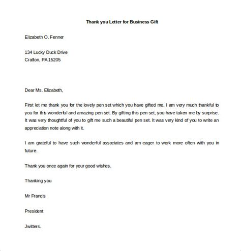 Business Gift Thank You Letter Template free thank you letter templates 35 free word pdf