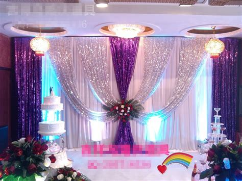 luxury shiny sequins wedding backdrop xmftxft silver purple party background curtain