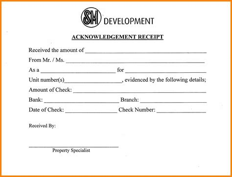 Formal Receipt Template by 11 Acknowledgement Receipts Sles Formal Buisness Letter