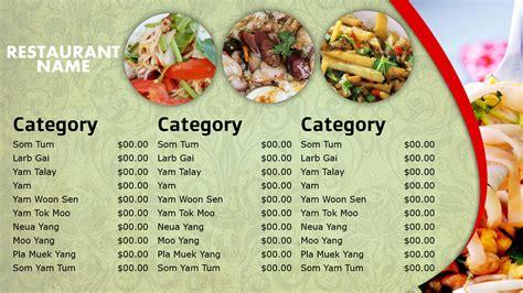 thai menu template professional digital signage templates signagecreator