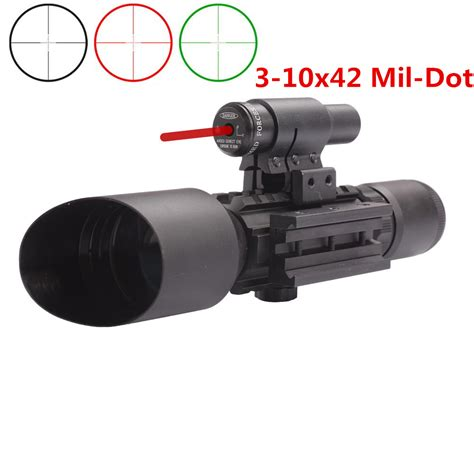 m9 3 10x42 mil dot reticle green illuminated sight rifle scope with laser for airsoft