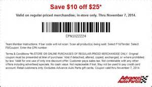 Auto Parts Discount Codes Advance Auto Parts Coupons 10 25 At Advance Auto