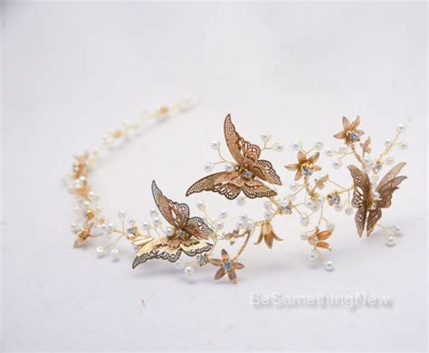 Hochzeitseinladung Lions by Rustic Gold Hair Vine Of Metal Butterflies And Flowers Beaded