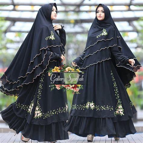 Kafhaya Bordir B By Gallery Syarifah kanza black baju muslim gamis modern
