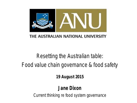 Resetting The Table by 3 2 Resetting The Australian Table Food Governance