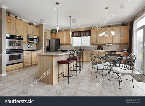 kitchen island eating area large kitchen island eating area stock photo 84447178