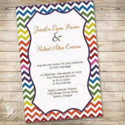 Spring Home Decorating Ideas rainbow colors chevron wedding invitations iwi300