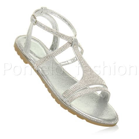 flat evening sandals womens flat strappy summer t bar sparkly diamante
