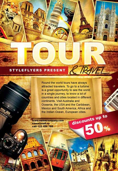 tour template the tour and travel free flyer template