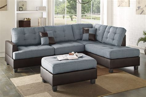 3 piece sectional sofa with chaise 3 piece grey linen like sectional sofa chaise with ottoman
