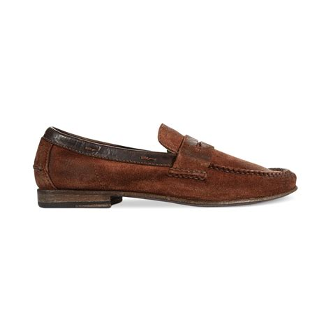 frye loafers mens frye lewis suede loafers in brown for cognac