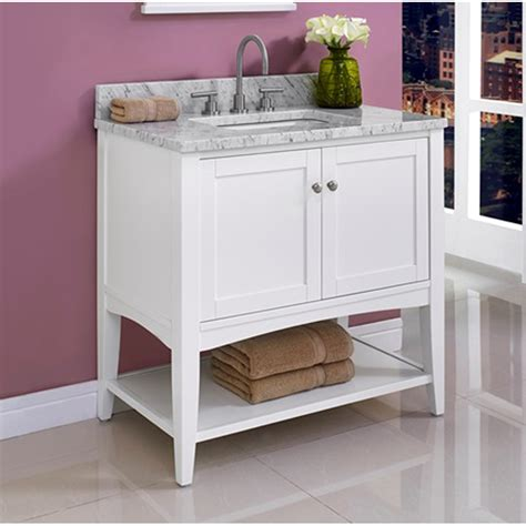 bathroom vanity open shelves fairmont designs shaker americana 36 quot vanity open shelf for 1 1 4 quot thick top polar white