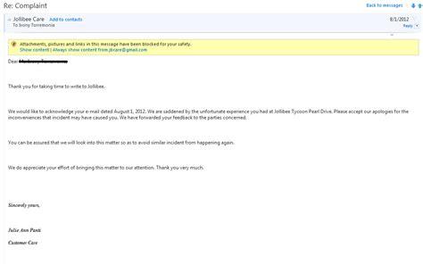 Jollibee Customer Complaints Letter Regarding In Service Teacherandwriterwannabe Complaint Against A Certain Fast