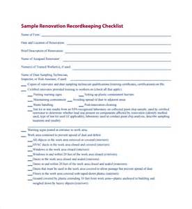 business record keeping templates sle renovation checklist template 9 free documents