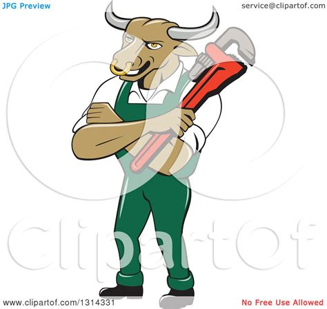 Mascot Plumbing by Clipart Of A Bull Plumber Mascot With Folded