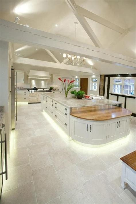 Kitchen Luxury White Luxury Large White Kitchen Open Ceiling Idea For Ranch Home Island With Raised Marble And