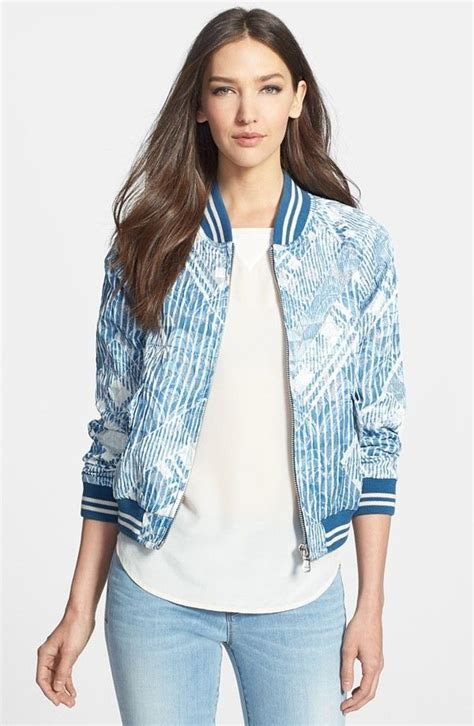 Blue Floral Boomber Printing printed bomber jacket womens jackets review