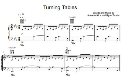 Turning Tables Piano Chords by Turning Tables Adele Sheet Purple Market Area
