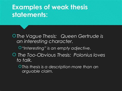 Bullying Thesis Slideshare | weak thesis statements