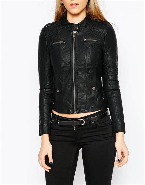 Moda Black lyst vero moda leather look collarless jacket in black