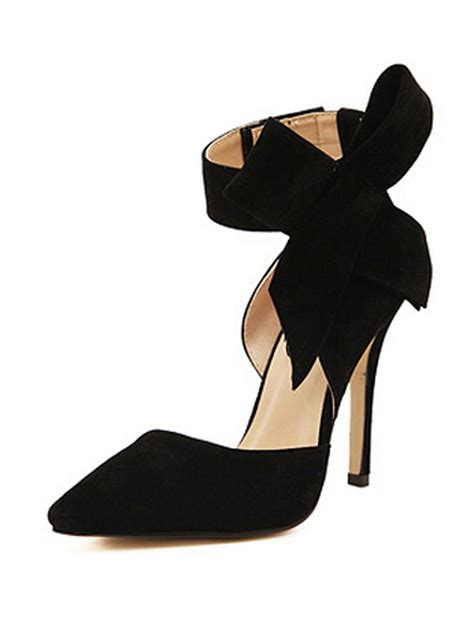 black high heels with a bow black detachable bow embellishment high heeled pumps choies