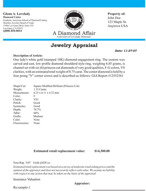 jewelry appraisal form template sle appraisal lovelady