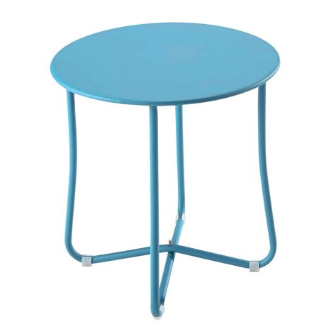 Garden Side Table Metal Garden Side Table In Turquoise Blue D 45cm Capsule Maisons Du Monde