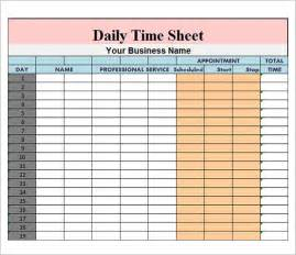 Time Recording Template by Daily Timesheet Template 9 Free For Pdf Excel