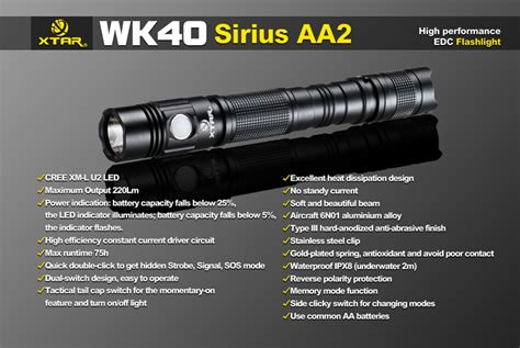 Jetbeam Se A02 Senter Tiny Pen Led Cree Xpe 280 Lumens xtar wk40 sirius aa2 senter led cree xm l u2 220 lumens black jakartanotebook