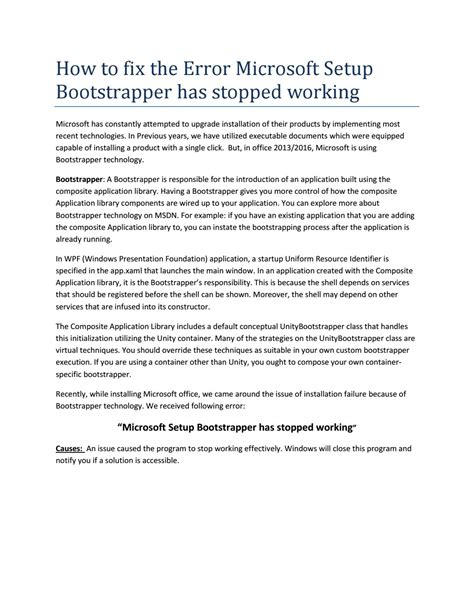 microsoft setup bootstrapper has stopped working visio 2013 how to fix the error microsoft setup bootstrapper has