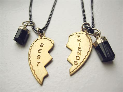 two best friends charm necklaces gold dipped black