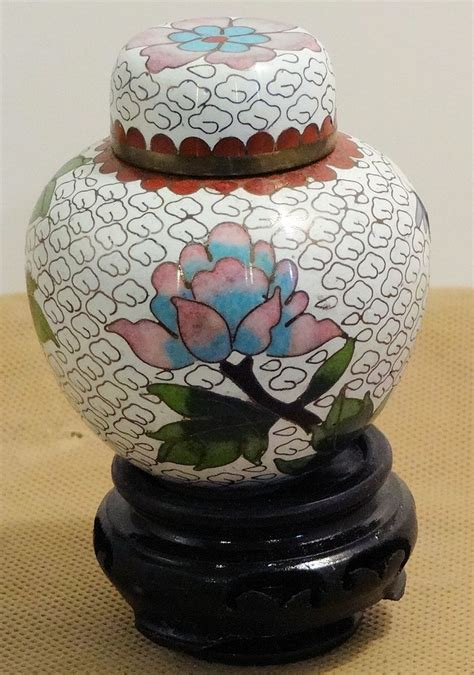 cloisonne small white vase with flowers