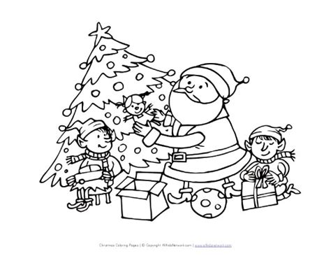 coloring pictures of santa and his elves santa and elves coloring page all kids network