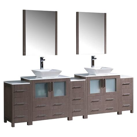 96 bathroom vanity cabinets fresca fvn62 96go vsl torino 96 inch gray oak modern