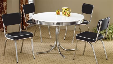 retro dining room set 2388 retro chrome round retro dining room set from coaster