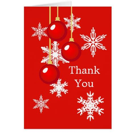 christmas red ornaments thank you greeting card zazzle