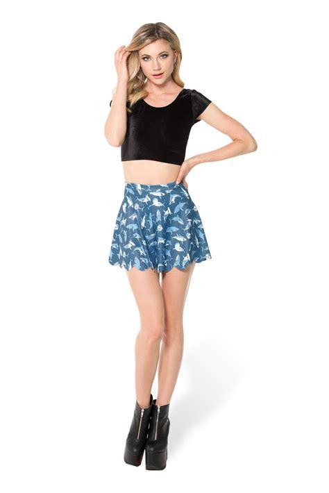 cheap fashion mid waist sharks print blue polyester a line