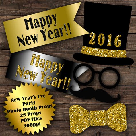 happy new year photo booth props printable 2016 new years eve photo booth props glitter n spice