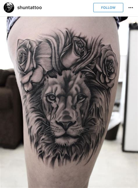 lion and rose tattoo black and grey realistic with roses