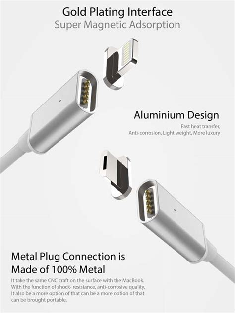 Magnetic Iphone Charger Lightning Magnetic Cable Iphone Magnetic Phone magsix magnetic charging cable compatible with lightning and microusb devices gadgetsin